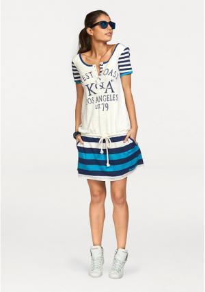 Платье Kangaroos. Цвет: цвет белой шерсти/синий