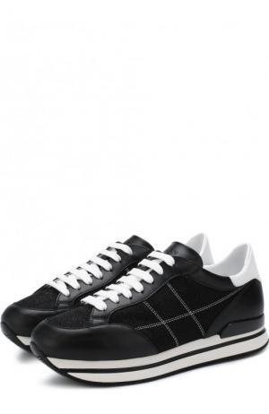 Комбинированные кроссовки на шнуровке Hogan. Цвет: черно-белый