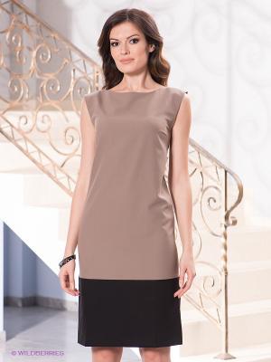 Платье Levall. Цвет: бежевый, черный
