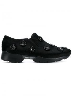 Кроссовки с меховой отделкой Simone Rocha. Цвет: чёрный