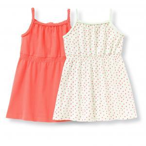 Комплект из 2 платьев с тонкими бретелями, 1 мес. - 3 года R édition. Цвет: коралловый + рисунок розовый/зеленый