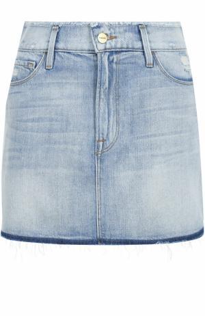 Джинсовая мини-юбка с потертостями Frame Denim. Цвет: голубой