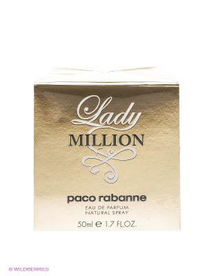 Lady million парфюмерная вода, 50 мл PACO RABANNE. Цвет: прозрачный