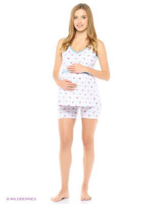 Комплект домашней одежды для беременных и кормления ( майка, шорты) 40 недель. Цвет: белый, голубой
