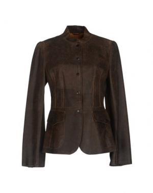 Верхняя одежда из кожи MARIELLA BURANI. Цвет: темно-коричневый