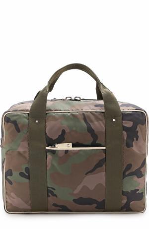 Текстильная дорожная сумка с плечевым ремнем Valentino. Цвет: хаки