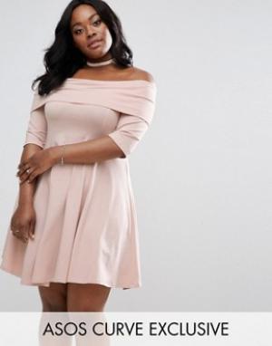 ASOS Curve Приталенное платье мини с вырезом лодочкой и рукавами 3/4. Цвет: розовый