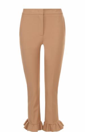 Укороченные брюки-скинни с оборками MSGM. Цвет: бежевый