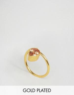 Ottoman Hands Кольцо с камнем в форме капли. Цвет: золотой