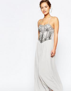 Maya Petite Платье-бандо макси с отделкой на лифе. Цвет: серый
