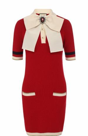 Шерстяное мини-платье с контрастным бантом Gucci. Цвет: красный