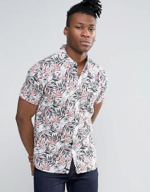Pepe Jeans Рубашка с короткими рукавами и тропическим принтом. Цвет: коричневый