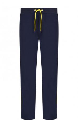 Хлопковые брюки с лампасами Dirk Bikkembergs. Цвет: темно-синий