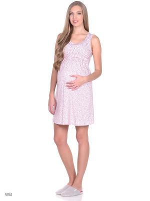 Ночная сорочка для беременных и кормящих ФЭСТ. Цвет: розовый, серый