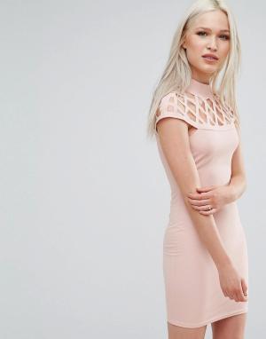 AX Paris Платье со вставкой. Цвет: розовый