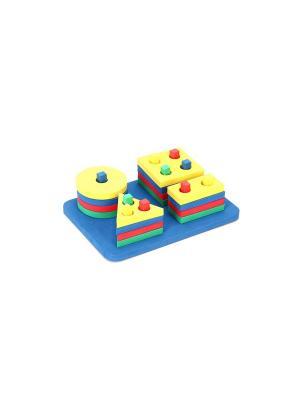 Развивающая игрушка конструктор Пирамиды БОМИК. Цвет: синий, зеленый, красный