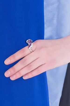 Серебряное кольцо с цирконием Bernard Delettrez. Цвет: серебряный, фиолетовый