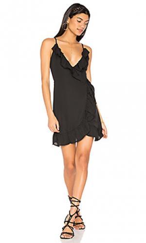 Платье со сборками all summer long LIONESS. Цвет: черный