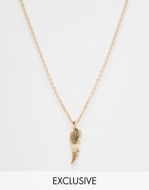 Chained & Able Золотистое ожерелье с подвеской-крыльями. Цвет: золотой
