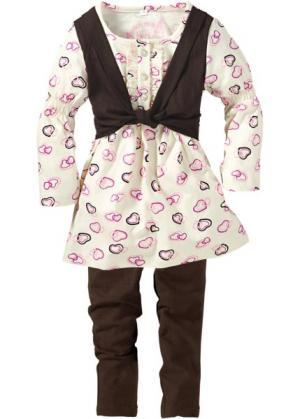 Платье + легинсы (2 вещи) (темно-коричневый/кремовый) bonprix. Цвет: темно-коричневый/кремовый
