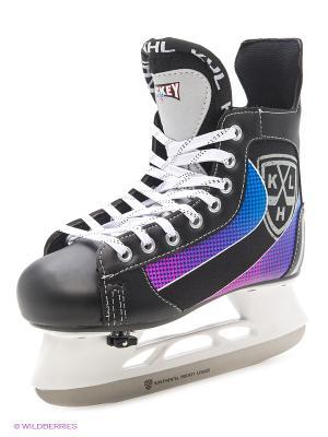 Коньки хоккейные раздвижные KHL Smart. Цвет: черный, красный, синий