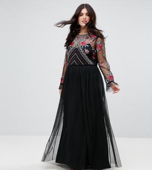 Frock and Frill Plus Премиум-платье макси с длинными рукавами и вышивкой Pl. Цвет: черный