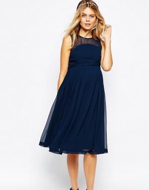 ASOS Maternity Платье миди для беременных с оборкой WEDDING. Цвет: темно-синий