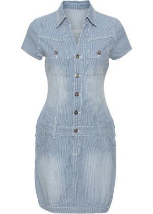 Платье джинсовое (индиго в полоску) bonprix. Цвет: индиго в полоску
