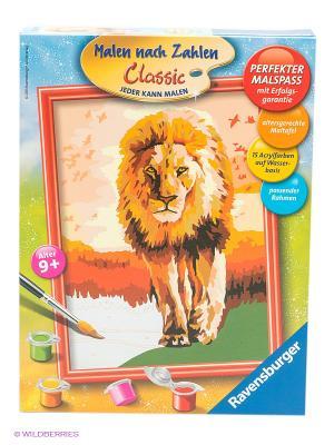 Раскраска по номерам Гордый лев Ravensburger. Цвет: бежевый, желтый, зеленый, коричневый