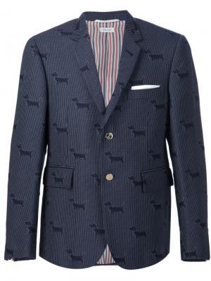 Пиджак с собаками Thom Browne. Цвет: синий