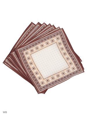 Набор платков носовых мужских Римейн. Цвет: коричневый, белый