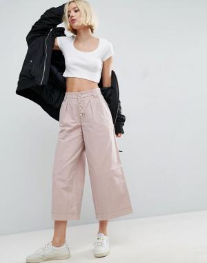 ASOS Выбеленные брюки с широкими штанинами. Цвет: мульти