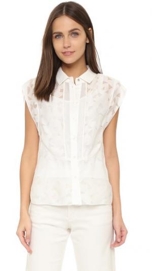 Блуза Picasso на пуговицах, выполненная из прожженной ткани O'2nd. Цвет: золотой