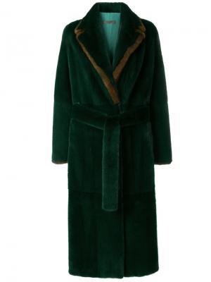 Норковая шуба Minny Simonetta Ravizza. Цвет: зелёный