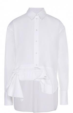 Хлопковая блуза прямого кроя с декоративной отделкой Victoria by Beckham. Цвет: белый