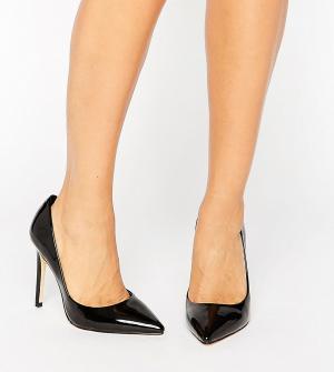 Faith Wide Fit Черные лакированные туфли-лодочки для широкой стопы Chloe. Цвет: черный