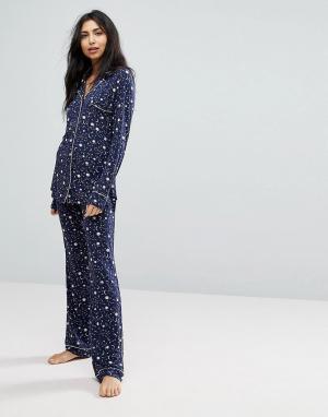 Hunkemoller Трикотажные пижамные штаны с принтом луны. Цвет: розовый
