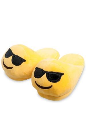 Тапочки Смайлик Крутой Lovely Joy. Цвет: желтый