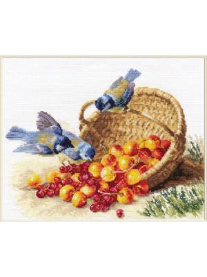 Набор для вышивания Синички и черешня 32х24 см, Алиса. Цвет: бежевый, красный, золотистый, кремовый, желтый, зеленый, голубой