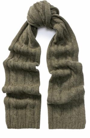 Шарф фактурной вязки из кашемира Kashja` Cashmere. Цвет: хаки