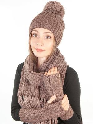 Шапка, шарф, митенки LORICCI. Цвет: темно-коричневый