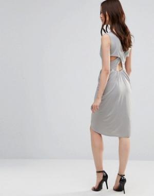 Wal G Платье с драпировкой и перекрестными планками сзади. Цвет: серый