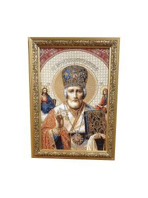 Гобеленовая картина Икона СВ.Николай Мирликийский 25х35 см Рапира. Цвет: золотистый, синий, красный