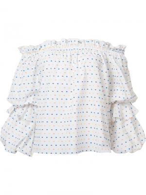 Блузка в горох с открытыми плечами Caroline Constas. Цвет: белый