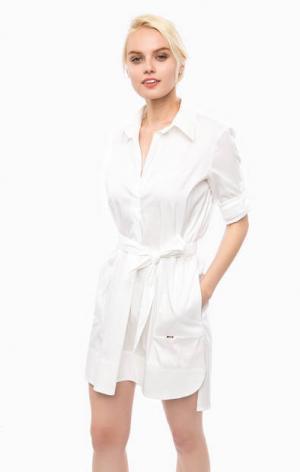 Белое платье-рубашка с двумя карманами Cinque. Цвет: белый