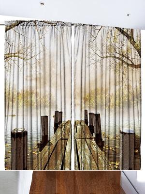 Комплект фотоштор Деревянный помост на осеннем озере, красные клёны, белые облака в голубом небе, Magic Lady. Цвет: коричневый, бежевый