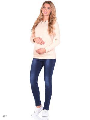 Джинсы утеплённые на флисе для беременных 40 недель. Цвет: синий