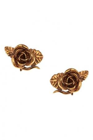 Серьги-розы из латуни Prada. Цвет: золотой