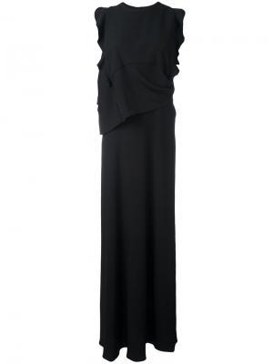 Длинное платье с оборками Carven. Цвет: чёрный