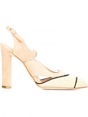 Туфли с вырезными деталями Paula Cademartori. Цвет: телесный